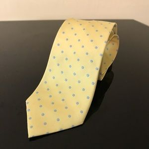 J. Crew 100% Silk Tie Yellow with blue dots